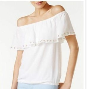 WHITE GROMMET RUFFLE OFF-THE-SHOULDER BLOUSE TOP